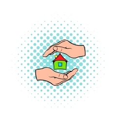 House in hands icon comics style vector