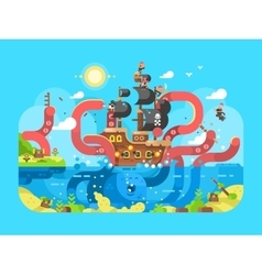 Kraken ship sinks design flat vector