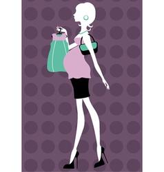 Beautiful pregnant woman shopping vector