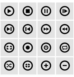 black media buttons icon set vector image