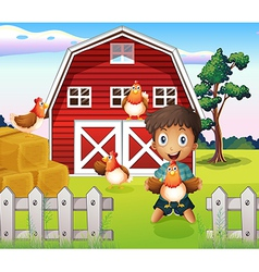 A boy playing with his farm animals vector image vector image