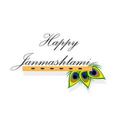 bansuri with peacock feather in janmashtami vector image