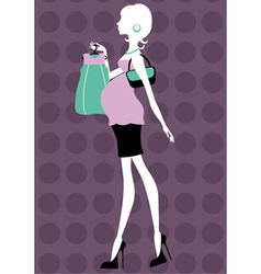 Beautiful pregnant woman shopping vector image vector image