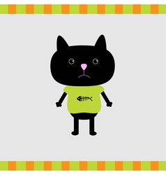 Black cat boy card vector