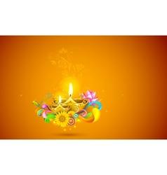 Burning diwali diya vector