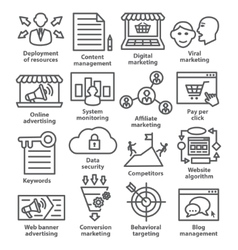Business management icons in line style pack 24 vector