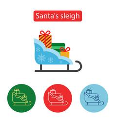 christmas sleigh gift flat icon vector image