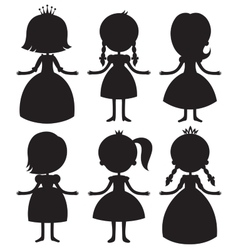 Cute cartoon princess silhouettes set vector image vector image