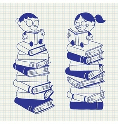 cute kids reading on a big pile of books vector image