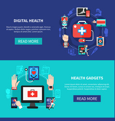 Digital health gadgets flat banners vector