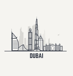 Dubai black and white lines view vector