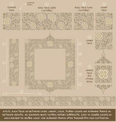 flower decorative ornaments building kit - tan vector image