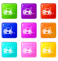 forklift icons 9 set vector image