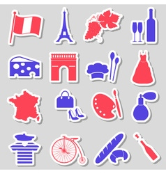 France country theme symbols stickers set eps10 vector