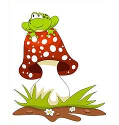 Frog sitting on a mushroom vector image vector image