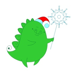 funny dragon with snowflake vector image vector image