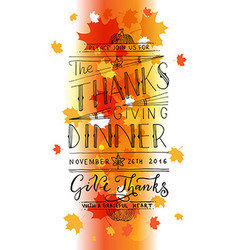 Hand drawn thanksgiving typography invitation vector