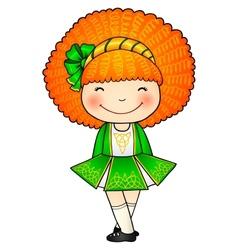 Irish dancing girl in green traditional dress vector