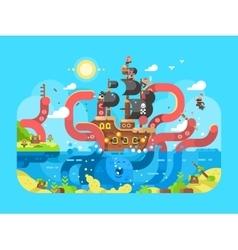 Kraken ship sinks design flat vector image