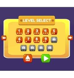 Level select game menu interface panels ui buttons vector
