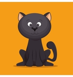 lovely kitten black sitting yellow background vector image