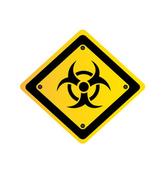 Metal biohazard warning sign icon vector