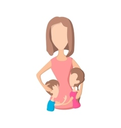 Mother and her kids cartoon icon vector image vector image