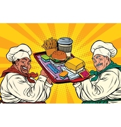 Multi ethnic cooks fast food vector