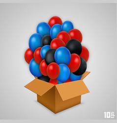 Open paper box with balloons vector