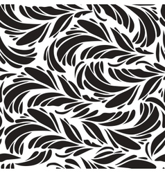 Seamless doodle black peacock feathers pattern vector