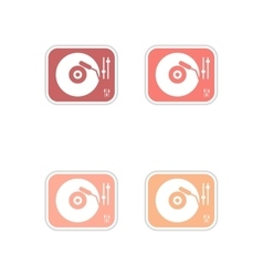 Set of paper stickers on white background record vector