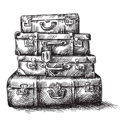 Sketch drawing of luggage bags vector