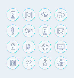 Smart house technology system line icons home vector