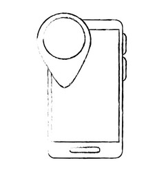 smartphone device with pointer location vector image vector image