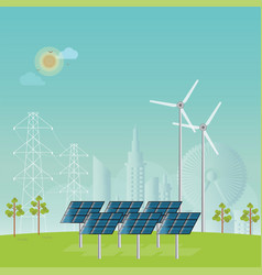 solar energy panels and wind turbine vector image vector image
