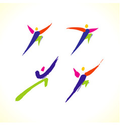 sport colorful stick figure vector image