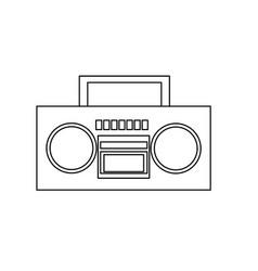 stereo radio music play retro outline vector image
