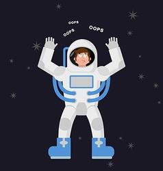 Surprised astronaut says OOPS Perplexed cosmonaut vector image