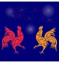 Two cocky rooster red and yellow on a background vector