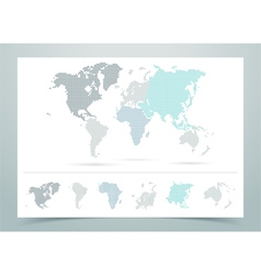 World map dotted with continents vector