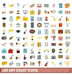 100 art essay icons set flat style vector