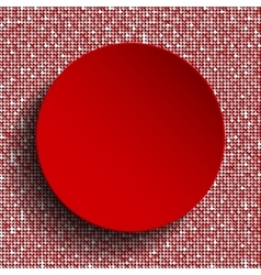 Red circle button on red sequin background vector