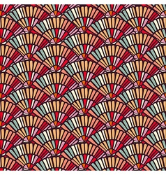 Colorful hand fan mosaic tile seamless pattern vector