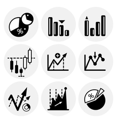 Black statistics icons vector