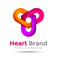 Abstract heart in three volume logo colorful 3d vector