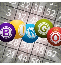 Bingo balls 2017 and numbers on abstract vector