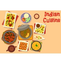 Indian cuisine dinner with pumpkin cake icon vector