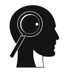 Magnifying glass in head icon simple style vector