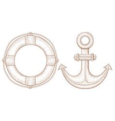 lifebuoy and anchor - sea symbols hand drawn vector image