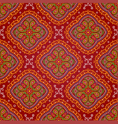 Bright seamless indian pattern paisley mandala on vector